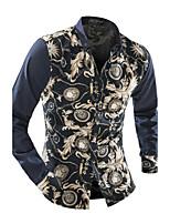 Men's Long Sleeve Shirt , Cotton Blend Casual / Work / Formal / Sport / Plus Sizes Plaids & Checks / Pure