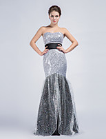 Formal Evening Dress - Ivory Trumpet/Mermaid Strapless Floor-length Sequined