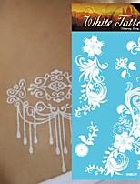 King Horse® Henna India 5sheets  Wedding Tattoo Stickers White   Non Toxic/Wedding /Hawaiian  20.5*10cm Flower
