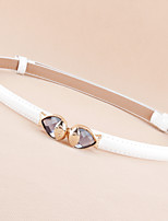 Female Models Decorative and Thin Belts,Patent Leather Adjustable Wild Goldfish Buckle