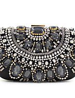 Women Satin Flap Clutch / Evening Bag - Black