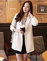 Women's Solid Blue / Beige Blazer , Casual / Work V Neck Long Sleeve