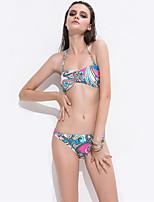 De las mujeres Bikini - Geométrico Sin Soporte / Sujetador Acolchado - Halter - Poliéster