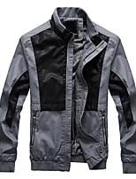 Men's Long Sleeve Jacket , Cotton / PU Casual / Work / Sport Pure