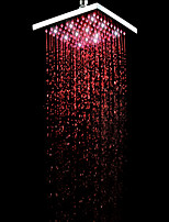 8 Inch Square BRASS 3 Colors LED Temperature Sensitive Rainfall Shower