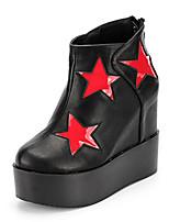Chaussures Femme - Décontracté - Rouge / Blanc - Talon Compensé - Bout Arrondi - Bottes - Similicuir