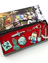 My World JJ Alloy Steve/Alex/Herobrine/Creeper More Accessories (7PCS Minecraft Pendant Necklace)