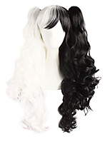 Anime Fashion Must-Have Festival Long Curly Black and White and Double Color Hair Quality Wigs