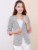 Women's Striped Blue / Pink Blazer , Casual V Neck Long Sleeve