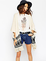 Women's Geometric Beige Cardigan , Casual ¾ Sleeve