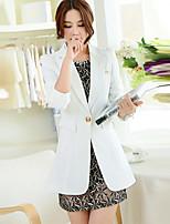 Women's Solid Blue / White / Black / Green / Yellow Blazer , Casual / Work Shirt Collar Long Sleeve