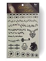 Tatuaggi adesivi - Serie fiori - King Horse - Bambino / Da donna / Girl / Adulto / Teen - 5pcs - Modello - di Carta - 24.5*14.5cm - Bianco