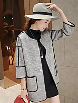 Women's Patchwork Long Coat , Casual ¾ Sleeve Polyester / Cotton Blends