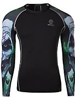 Masculino Camiseta Casual / Tamanhos Grandes Estampado Algodão / Poliéster Manga Comprida Masculino