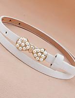Korean Fashione Legant and Refined Pearl Bow Thin Belt Female Wild Thin Belt