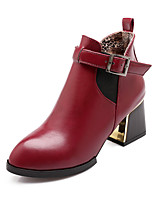 Women's Shoes Chunky Heel Fashion Boots / Comfort Boots Outdoor / Office & Career / Dress / Casual Black / Brown / Red