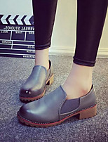 Women's Shoes British Style Vintage Dunk Low Low Heel Comfort / Closed Toe Loafers Dress / Casual Black / Brown / Gray