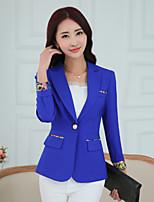 Women's Solid Blue / Pink / White / Black Blazer , Casual V Neck Long Sleeve