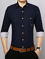 Men's Long Sleeve Shirt , Cotton / Polyester Casual / Work / Formal Pure