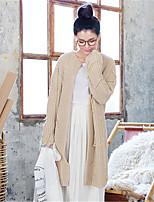 Women's Solid Khaki Cardigan , Casual Long Sleeve
