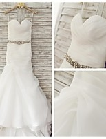 Trumpet/Mermaid Wedding Dress - Ivory Sweep/Brush Train Sweetheart Organza