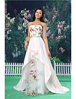 A-line Formal Evening Dress - White Court Train Strapless Organza / Satin