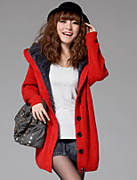 Women's Solid Blue / Red / Green / Khaki / Gray Cardigan , Casual Long Sleeve