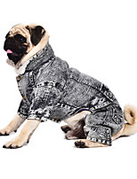 URBAN PAWS Jeans Pets Sportswear Coat Jumpsuit Style with Fleece Lining  for Dogs and Cats