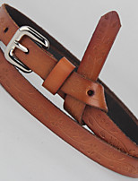 Imported Leather Printing Women Fashion Wild Decorative Knotted Leather Belt Leather Thin Belt