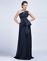 Sheath/Column Mother of the Bride Dress - Dark Navy Floor-length Chiffon / Tulle