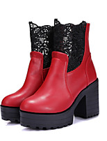 Women's Shoes Leatherette Chunky Heel Fashion Boots Heels / Boots Outdoor / Casual Black / Yellow / Red