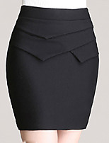 Women's Solid Red / Black Skirts , Vintage / Sexy / Bodycon / Party / Work Above Knee