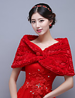 Red Classic Sleeveless Wedding Wraps Imitation Cashmere Capelets