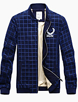Men's Long Sleeve Jacket,Polyester Casual / Work / Formal / Sport / Plus Sizes Plaids