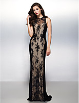 Formal Evening Dress - Black Sheath/Column Jewel Sweep/Brush Train Lace