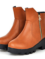 Women's Shoes Leatherette Low Heel Fashion Boots Boots Outdoor / Dress / Casual Black / Brown / Gray