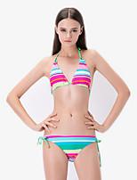 Women's Halter Bikinis , Color Block Wireless / Padded Bras Polyester Green