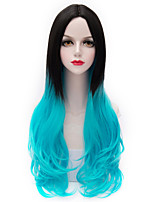 Two Tone Black Gradient Blue Long Loose Wavy U Part Hair Harajuku Purecas Lolita Vogue Cosplay Party Women Synthetic Wig