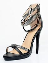 Women's Shoes Leatherette Stiletto Heel Open Toe Sandals Party & Evening / Dress / Casual Black