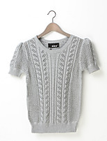 Women's Solid Multi-color Pullover , Vintage / Cute Short Sleeve