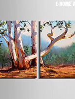 E-HOME® Stretched Canvas Art The Tree Decorative Painting Set of 2