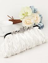 Women Metal / Satin Minaudiere Clutch / Evening Bag - White / Purple / Silver / Black