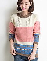Women's Color Block Pink Pullover , Casual Long Sleeve