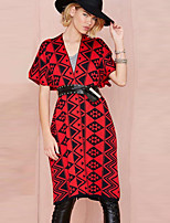 Women's Geometric Red Coat , Vintage / Casual Short Sleeve Knitwear