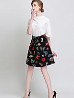 Women's Print Black Skirts , Vintage / Casual / Print Above Knee