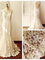 웨딩 드레스 - 샴페인 트럼펫/멀메이드 스위프/브러쉬 트레인 퀸 앤 레이스 / 사틴