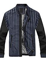 Men's Long Sleeve Jacket , Cotton Casual / Work / Sport Striped