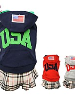 FUN OF PETS®Sport Style Autumn and Winter USA Printing Coat with Checked Dress Hoodie for Pets Dogs Dog Clothes
