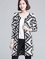 Women's Geometric Black Cardigan , Casual Long Sleeve
