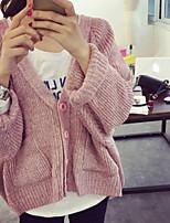 Women's Solid Pink / Khaki / Gray Cardigan , Casual Long Sleeve